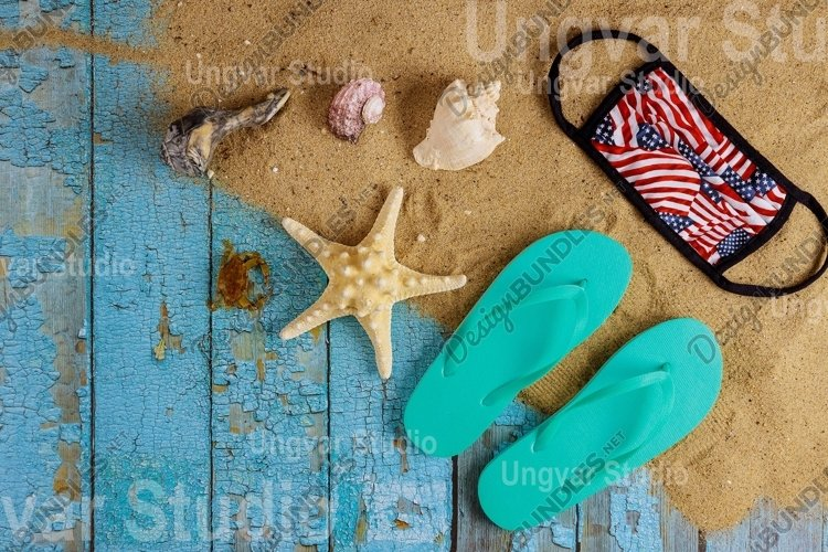 Travel vacation during with seashells on flip flops example image 1
