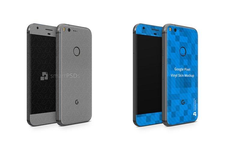 Google Pixel Vinyl Skin Design Mockup 2016 Front-Back Angled example image 1