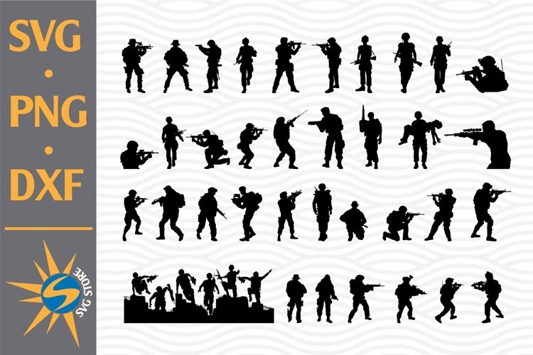 Soldier Silhouette SVG, PNG, DXF Digital Files Include