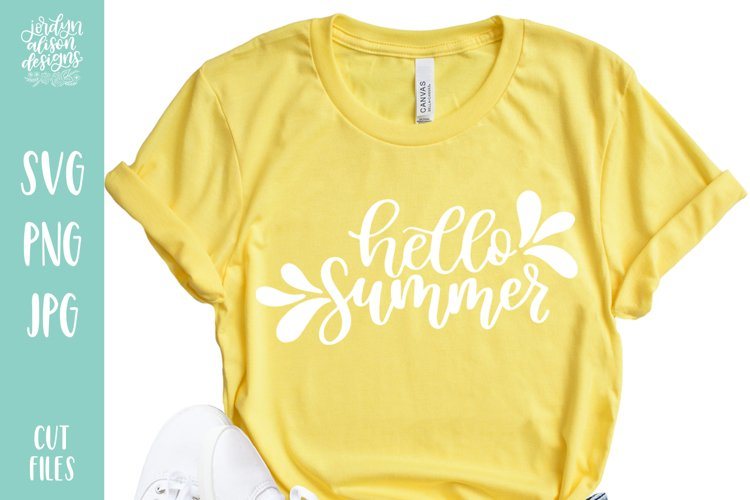 Hello Summer, Hand Lettered SVG Cut File example image 1