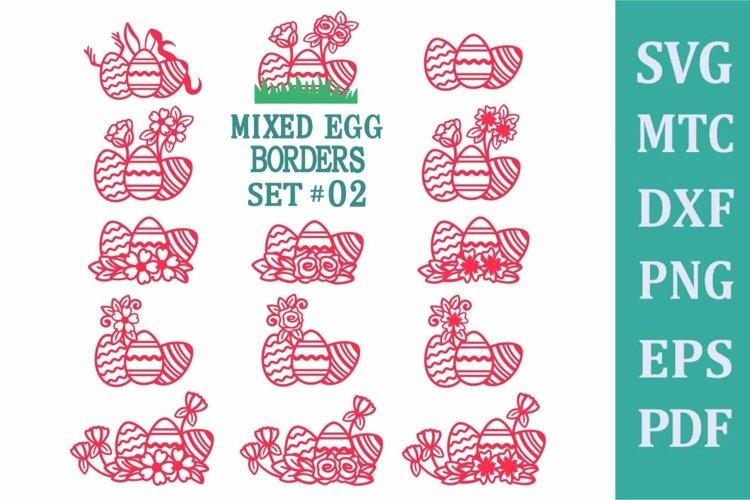 Easter Egg Mixed Border Set #02 SVG Cut File PNG DXF PDF