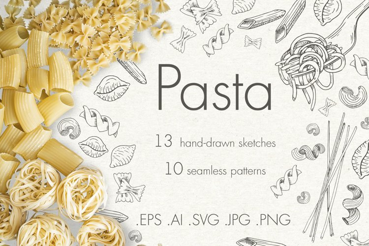 Pasta. Sketches and patterns