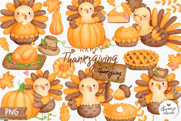 Watercolor Thanksgiving Clipart, Turkey Clipart