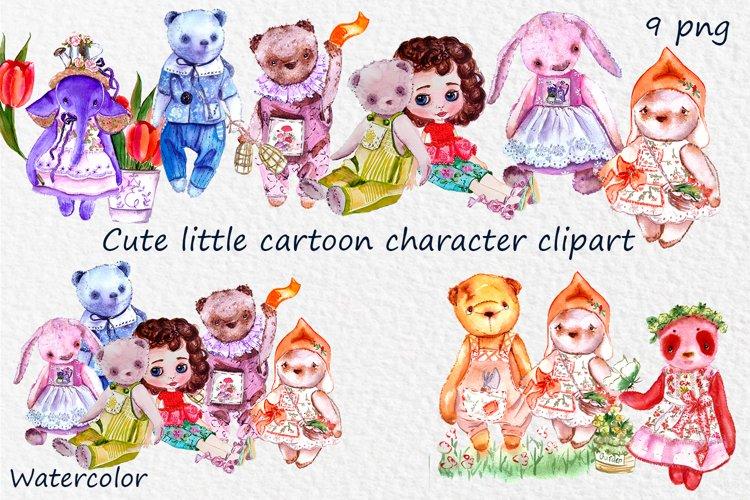 Cute little bear, elephant, doll cartoon character clipart