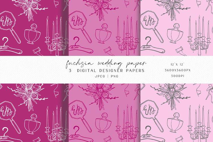 Fuchsia Wedding Digital Paper