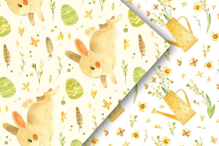 Easter bunny - watercolor seamless patterns example 3