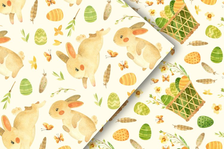 Easter bunny - watercolor seamless patterns example 4