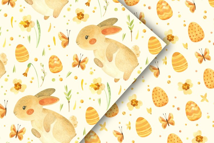 Easter bunny - watercolor seamless patterns example 5