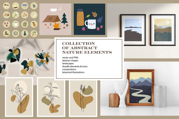 Collection of abstract nature elements