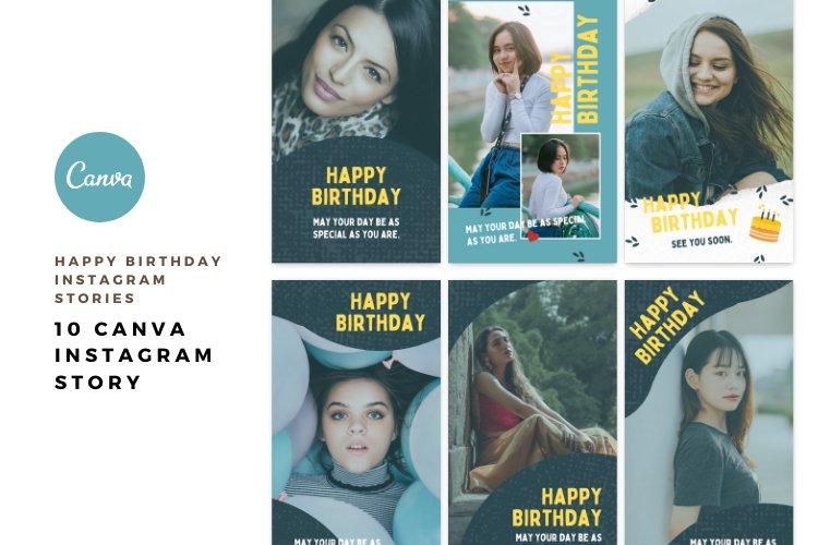 10 Happy Birthday Instagram Stories Canva Templates example 3