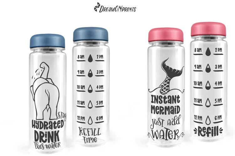 Water Bottle Tracker SVG Bundle   Drink Your Water - Free Design of The Week Design8