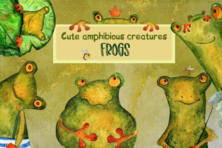 Watercolor frogs clip art
