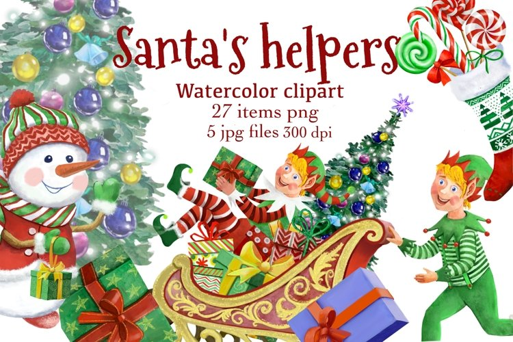 Elf kit watercolor,Christmas clipart,Santa's Helpers Png,jpg example image 1