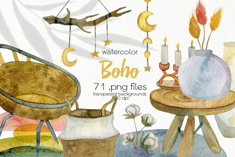 Watercolor Boho Clipart - PNG Files example image 1