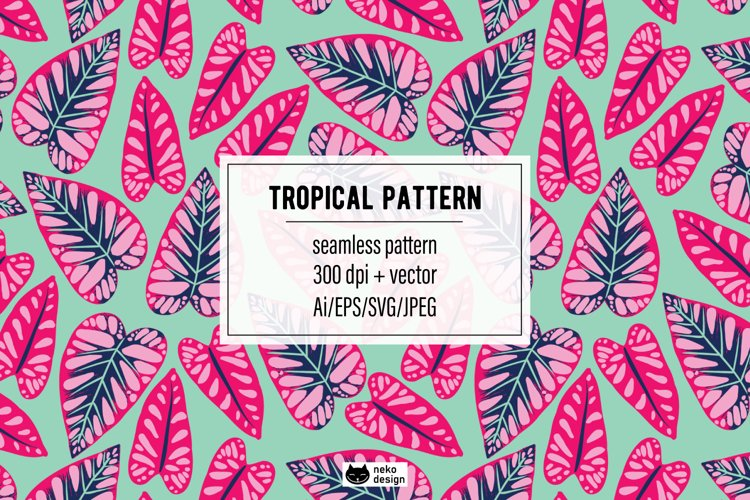 Tropical Leaves Vector Seamless Pattern example image 1