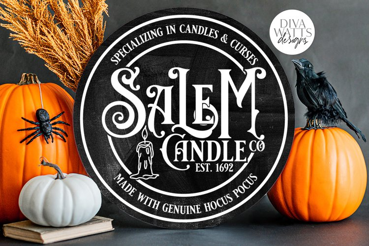 Salem Candle Co SVG | Halloween Witch Round Design example image 1