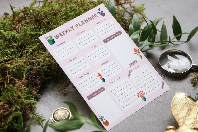 4 Floral Bullet Journal Weekly Planner Canva Templates example 3