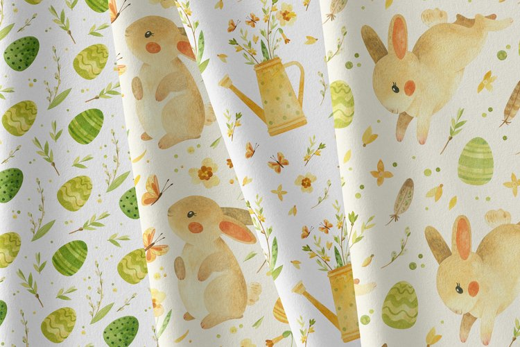 Easter bunny - watercolor seamless patterns example 7