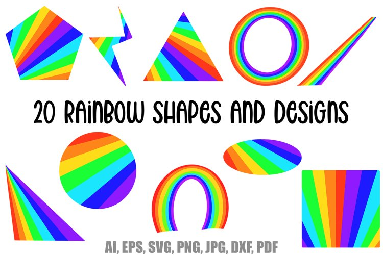 20 Rainbow Colour Shapes and Designs Collection SVG PNG