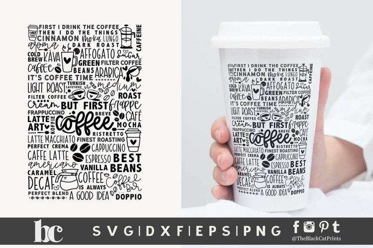 Coffee SVG | Coffee Words & Doodles SVG | Coffee Cut File