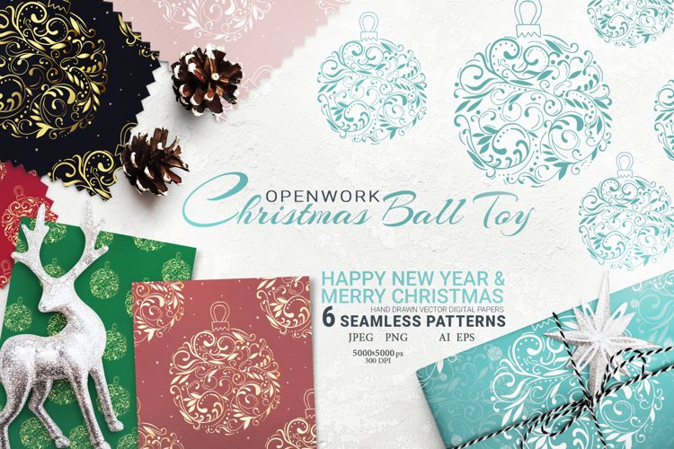 Christmas decoration ball. Digital Paper Seamless Pattern example image 1