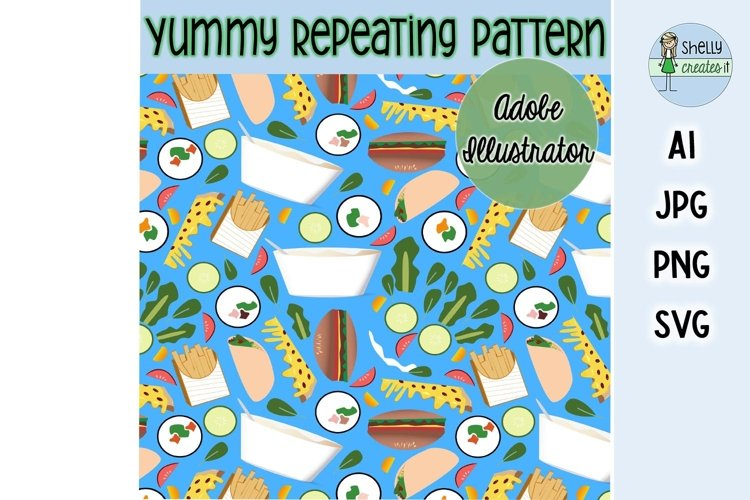 Yummy Food digital elements and repeating pattern