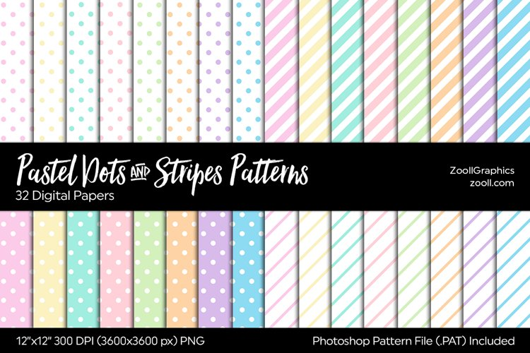 Pastel Dots And Stripes Digital Papers example image 1