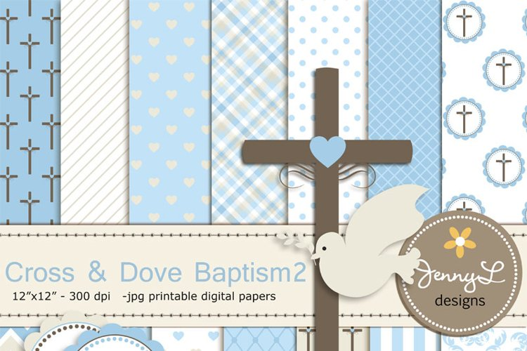 Boy Baptism Digital Papers, Cross Dove Clipart, example image 1
