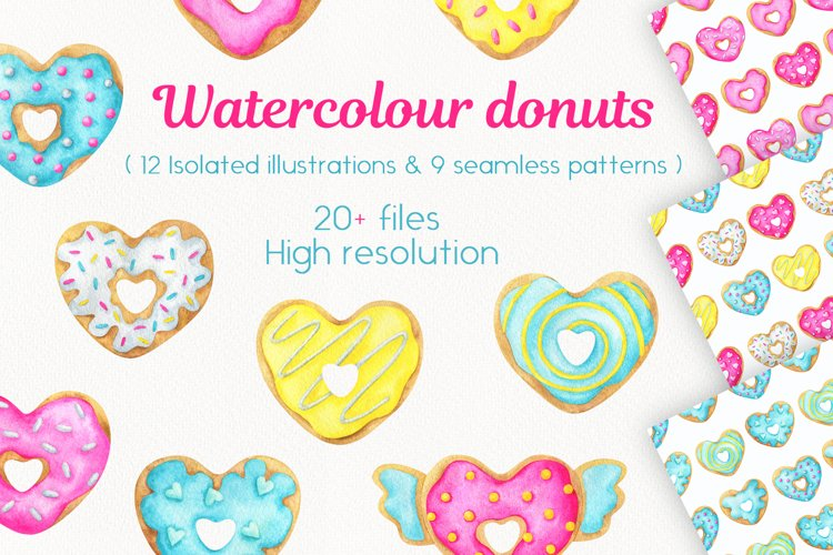 Watercolour donuts. Set of clips and patterns.