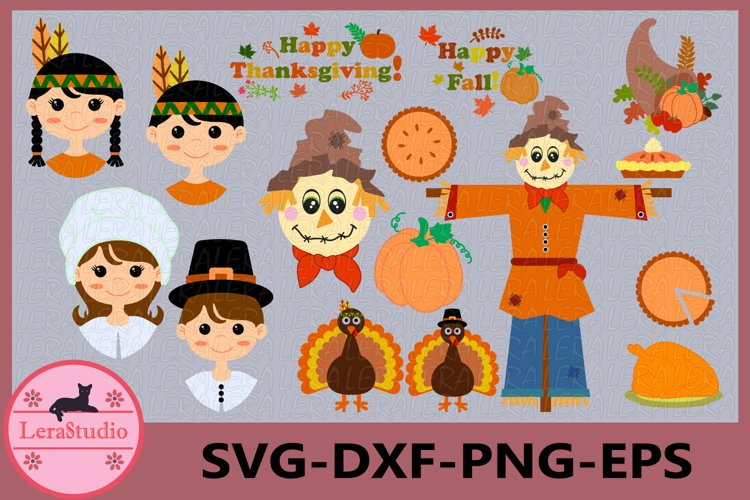 Thanksgiving Digital Clipart, Thanksgiving Day SVG, Turkey