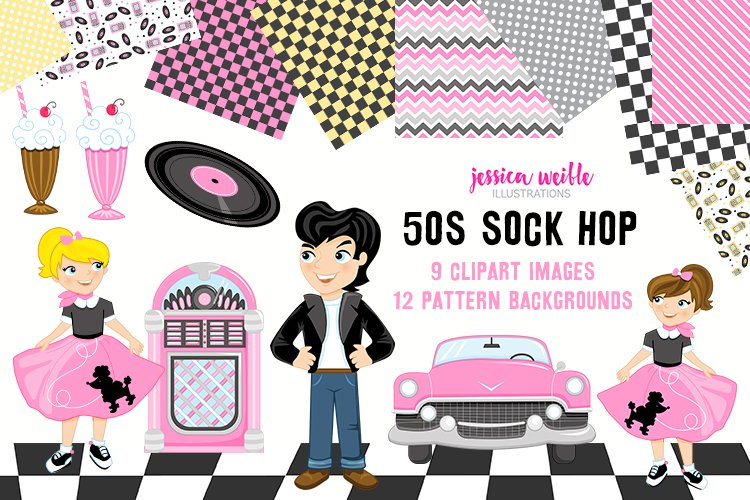 50s Sock Hop Clipart Graphics Collection