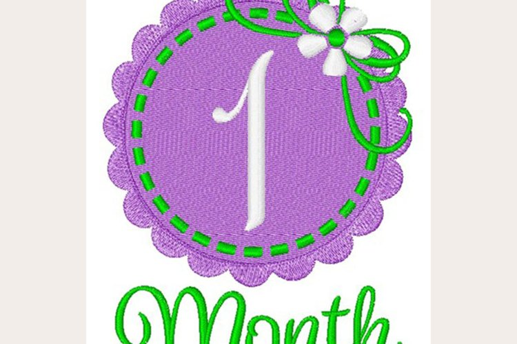 1 Month Baby- Machine Embroidery Design example image 1