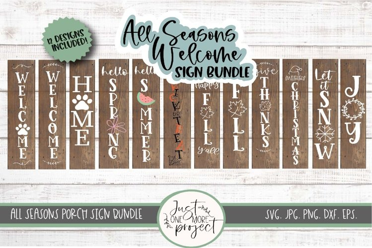 All Seasons Welcome Sign Bundle SVG, Bundle Welcome Signs, example image 1