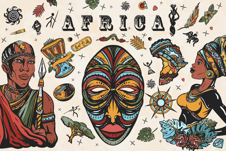Africa old school tattoo example image 1