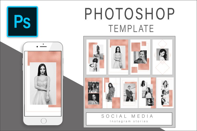 Rose Gold Instagram Stories Photoshop template example image 1