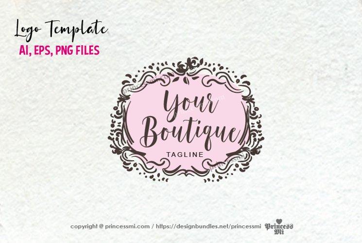 business logo template, elegant floral vintage, logo design