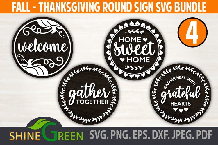 Fall Bundle Fall SVG Round Sign Farmhouse Home Thanksgiving example image 1