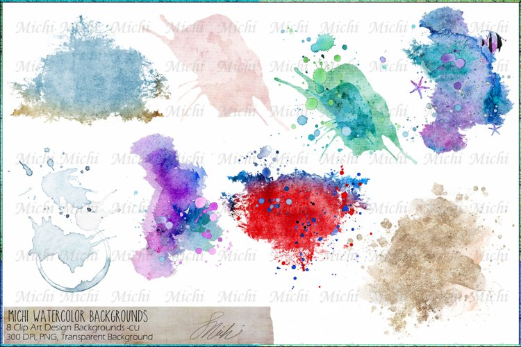 Michi Watercolor Backgrounds for Design and Sublimation example image 1