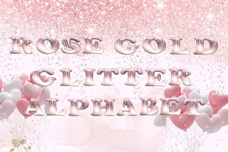 Rose Gold Glitter Alphabet Clipart example image 1