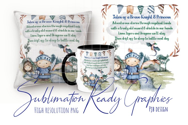 Childrens Knight & Princess Themed Sublimation Ready Design