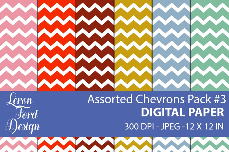 Assorted Chevrons Pack #3 Digital Paper example image 1