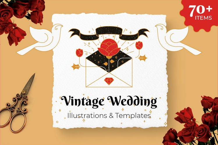 Vintage Wedding Illustrations   Templates