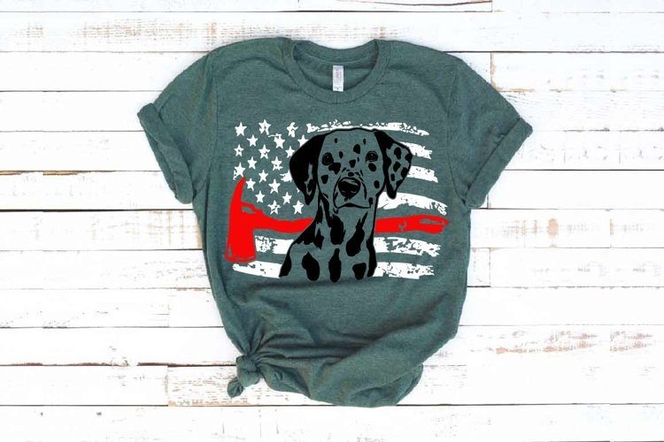 Firefighter Dalmatian USA Flag SVG 4th July 1693s example image 1