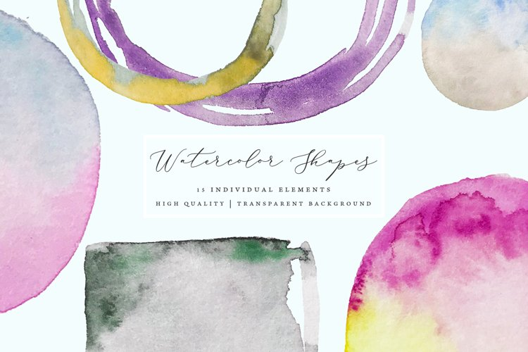 Watercolor shapes, hand painted frames and splotches example image 1
