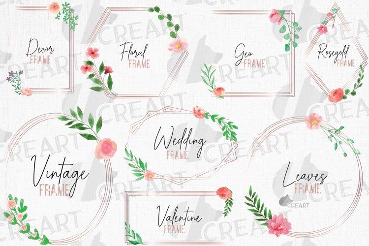 Download Rose Gold Floral Frames Clip Art Wedding Geometric Borders 887026 Illustrations Design Bundles