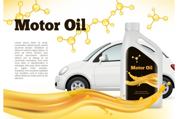 Realistic poster of car. Vector illustrations of Car oils ad example image 1