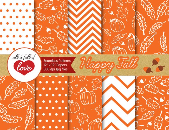 Orange Fall Digital Paper Autumn Background Patterns with acorns, leafs and pumpkins example image 1
