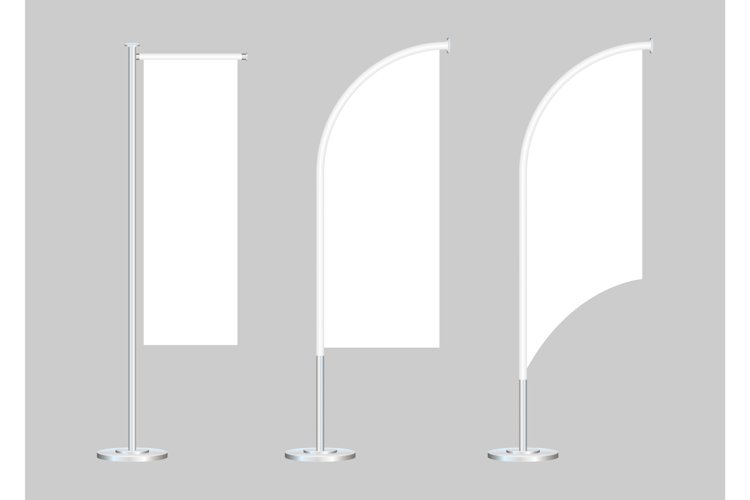 Beach Flag Stand Empty Template Mockup Set on a Grey. Vector