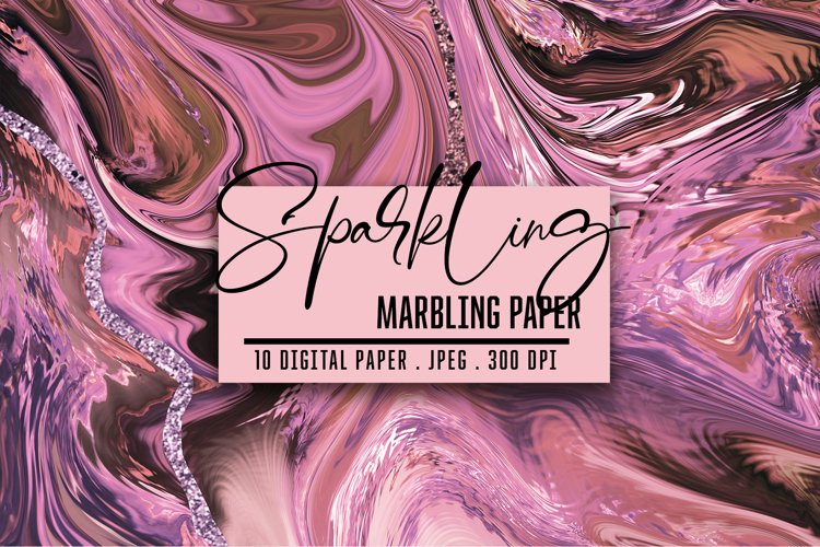Marbled Paper collection. Rose Gold, Marbling Digital Paper example image 1