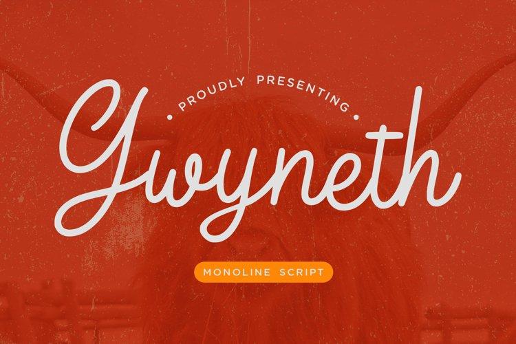 Gwyneth Monoline Script example image 1